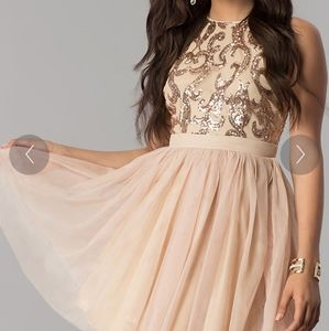 Lulu's sequin filigree tulle keyhole back dress